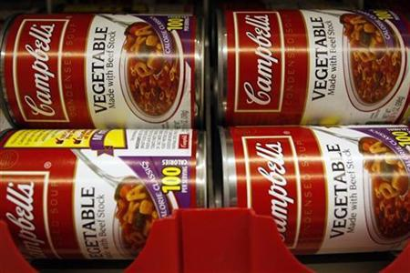 Cans of vegetable Campbell's Condensed Soup are stocked on a shelf at a grocery store in Phoenix, Arizona, February 22, 2010. REUTERS/Joshua Lott