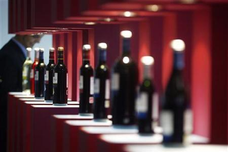 Bottles of wine are displayed at the Alimentaria trade show in Barcelona in this March 26, 2010 file photo. REUTERS/Albert Gea