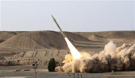 EDITORS' NOTE: Reuters and other foreign media are subject to Iranian restrictions on leaving the office to report, film or take pictures in Tehran. An undated handout picture released by Iran's defence ministry on August 25, 2010 shows a third generation of Fateh 110 (Conqueror) surface-to-surface missile being launched during a test from an unknown location in Iran. REUTERS/Vahidreza Alaii/Handout
