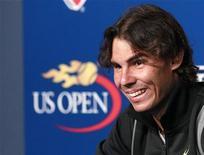 <p>Rafael Nadal, da Espanha, em coletiva no sábado durante o Aberto dos Estados Unidos. Nadal precisa apenas do título do Aberto dos EUA para completar o Grand Slam, mas o descontraído espanhol diz que nunca permitirá que isso se transforme em uma obsessão. REUTERS/Brendan McDermid</p>