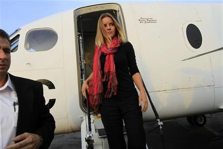 U.S. aid worker Flavia Wagner, who works for Samaritan's Purse, arrives at Khartoum Airport August 30, 2010. REUTERS/Mohamed Nureldin Abdallah