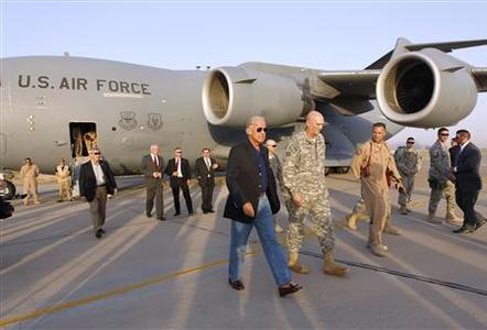 Vice President Joe Biden arrives in Baghdad, August 30, 2010. REUTERS/Thaier al-Sudani