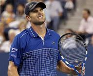 <p>Andy Roddick of the U.S. reacts to a point in the fourth set of his match against Janko Tipsarevic of Serbia during the U.S. Open tennis tournament in New York September 1, 2010. REUTERS/Shannon Stapleton</p>