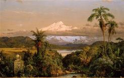"<p>""Cayambe,"" an 1858 oil on canvas by New Yorker painter Frederic Edwin Church, depicting a snowcapped Ecuadoran volcano in this undated handout photo, is among the exhibits tracing New York's deep and extensive historical roots with the Spanish-speaking world in the exhibition "" Nueva York (1613- 1945),"" a collaboration of The New-York Historical Society and El Museo del Barrio. A new exhibit at El Museo del Barrio turns an historic lens on New York's north-south relations, highlighting its long and deep roots with the Spanish-speaking world. ""Nueva York: 1613-1945,"" which opens on Sept. 17 and runs until early next year, depicts the city as a cultural crossroads for artists, intellectuals and revolutionary agitators from Spain, Latin America and the Caribbean. REUTERS/New-York Historical Society, The Robert L. Stuart Collection/Handout</p>"