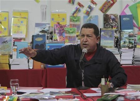 Venezuelan President Hugo Chavez speaks during a fair selling subsidised school supplies in Caracas September 7, 2010. REUTERS/Miraflores Palace/Handout