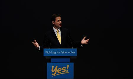 Deputy Prime Minister Nick Clegg speaks during a Yes to Reform rally at the Liberal Democrat conference in Liverpool, England, September 18, 2010. REUTERS/Nigel Roddis