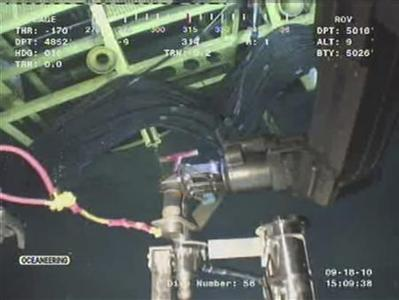 This September 18, 2010 BP video frame grab shows a remote operating vehicle (ROV) working at the site of BP's Macondo well in the Gulf of Mexico. REUTERS/BP/Handout