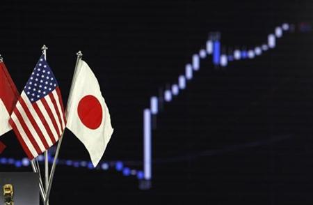 National flags of Japan (R) and the U.S. are seen near a graph displaying the movements of the U.S. dollar and the Japanese yen foreign exchange rates at a dealing room in Tokyo September 15, 2010. REUTERS/Kim Kyung-Hoon