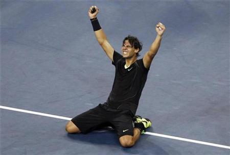 Rafael Nadal of Spain celebrates his victory against Novak Djokovic of Serbia during the men's final at the U.S. Open tennis tournament in New York, September 13, 2010. REUTERS/Jessica Rinaldi