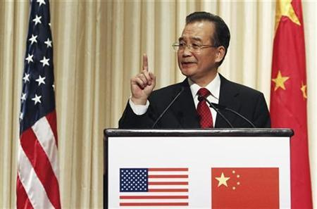 Chinese Premier Wen Jiabao speaks during a dinner hosted by the National Committee on U.S.-China Relations and the U.S.-China Business Council at the Waldorf Astoria in New York September 22, 2010. REUTERS/Keith Bedford