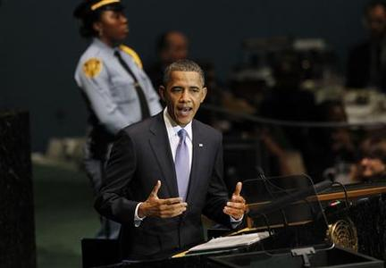 President Barack Obama addresses the 65th United Nations General Assembly at the U.N. headquarters in New York, September 23, 2010. REUTERS/Jason Reed