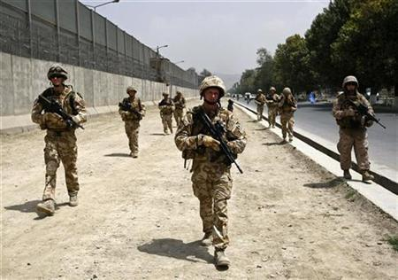 British soldiers patrol on a street in Kabul July 27, 2010. REUTERS/Omar Sobhani
