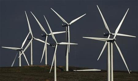 A general view shows the Whitelee wind farm near Eaglesham, East Renfrewshire, in Scotland May 20, 2009.