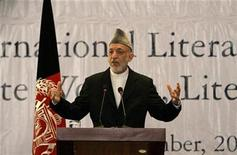 <p>Afghan President Hamid Karzai speaks during an event marking International Literacy Day in Kabul September 28, 2010. REUTERS/Omar Sobhani</p>