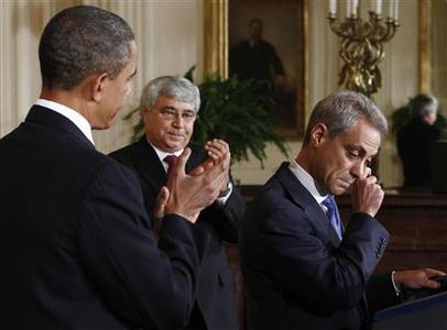 President Barack Obama and newly named interim White House Chief of Staff Pete Rouse (C) applaud outgoing Chief of Staff Rahm Emanuel as he wipes away tears in the East Room at the White House in Washington October 1, 2010. Emanuel is stepping down to run for mayor of Chicago. REUTERS/Jim Young