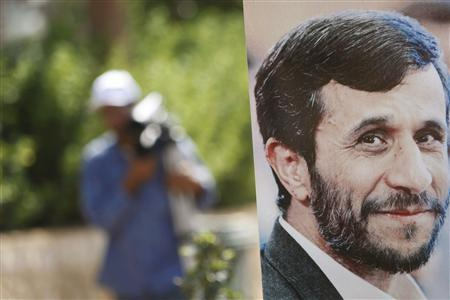 A picture of Iranian President Mahmoud Ahmadinejad is seen at a tourist park named ''Iran Garden'' which was funded by Iran, at Maroun Al Ras village in southern Lebanon near the border between Lebanon and Israel, October 4, 2010. REUTERS/ Ali Hashisho