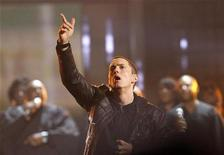 <p>Rapper Eminem performs 'Not Afraid' at the 2010 BET Awards in Los Angeles, June 27, 2010. REUTERS/Mario Anzuoni</p>