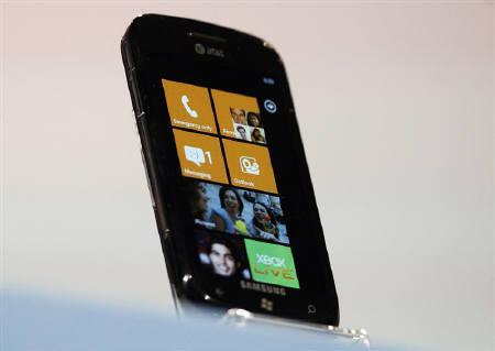 The new Windows Phone 7 is seen at the Windows Phone 7 launch news conference in New York, October 11, 2010. REUTERS/Jessica Rinaldi