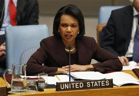 Then Secretary of State Condoleezza Rice addresses a United Nations Security Council meeting convened to discuss the crisis in Gaza at the United Nations Headquarters in New York January 6, 2009. REUTERS/Mike Segar