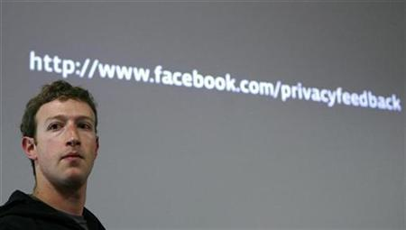 Facebook CEO Mark Zuckerberg takes a question during a news conference at Facebook headquarters in Palo Alto, California May 26, 2010. REUTERS/Robert Galbraith