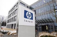 <p>Imagen de archivo del logo de HP en una oficina en Bruselas. Ene 12 2010 Hewlett-Packard Co presentó una Tablet PC con el software Windows y que apunta a los clientes corporativos. REUTERS/Thierry Roge/ARCHIVO</p>