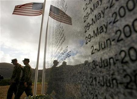 United States Marines gather as a memorial is dedicated to the 221 Marines, Soldiers and Sailors who were killed while serving with 5th Marine Regiment battalions in Iraq during a memorial ceremony at Camp Pendleton, California December 7, 2007. REUTERS/Mike Blake