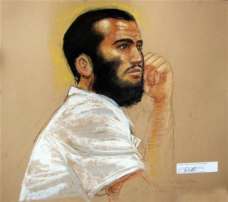 In this photo of a sketch by courtroom artist Janet Hamlin, Canadian defendant Omar Khadr attends a hearing in the courthouse REUTERS/Janet Hamlin/Pool