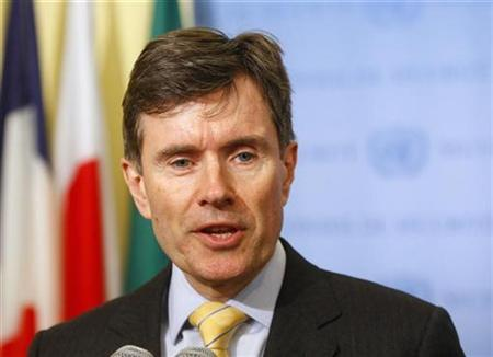Former British Ambassador to the U.N. and present SIS chief John Sawers speaks at United Nations headquarters, in New York, April 13, 2009. REUTERS/Chip East