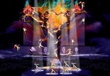 """<p>Imagen de diseñador de la gira """"Inmortal"""" en memoria de Michael Jackson, nov 3 2010. El nuevo show del Cirque du Soleil inspirado en Michael Jackson será estrenado en Montreal en octubre del 2011, y recorrerá 26 ciudades estadounidenses y canadienses en los siguientes ocho meses, indicó el miércoles la compañía acrobática. REUTERS/PR Newswire/Newscom/Handout</p>"""
