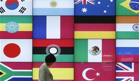A woman walks by a signboard showing flags of the participating countries for the upcoming G20 Seoul Summit at the venue of the summit in Seoul November 4, 2010. REUTERS/Truth Leem