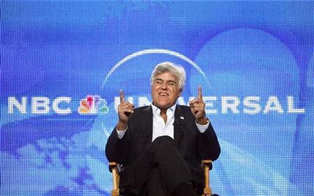 Host Jay Leno gestures during a panel for his upcoming television series ''The Jay Leno Show'' at the Television Critics Association Cable summer press tour in Pasadena, California August 5, 2009. The series debuts on September 14. REUTERS/Mario Anzuoni