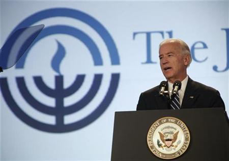 Vice President Joe Biden addresses the Jewish Federations of North America General Assembly in New Orleans, Louisiana November 7, 2010. REUTERS/Lee Celano