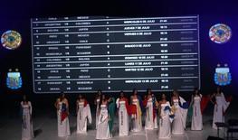<p>Cerimônia de sorteio para a Copa América de 2011, na Argentina: o Brasil enfrentará a Venezuela, o Paraguai e o Equador. REUTERS/Marcos Brindicci</p>