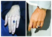 <p>Anel dado pelo príncipe William à namorada Kate Middleton (à esquerda) é o mesmo usado por sua mãe, a princesa Diana (à direita) . REUTERS/Paul Hackett/Dan Chung</p>