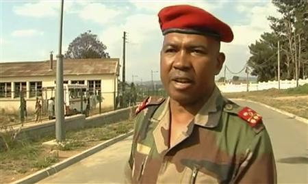 Rebel Colonel Charles Andrianasoavina speaks to the media in Madagascar's capital Antananarivo inthis still image taken from video November 17, 2010. REUTERS/Reuters TV