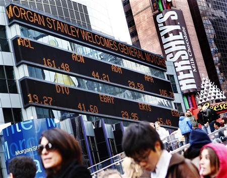 A message welcoming General Motors is seen on the Morgan Stanley stock ticker in New York, November 17, 2010. REUTERS/Shannon Stapleton