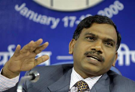 A. Raja during a news conference in New Delhi January 18, 2006. REUTERS/B Mathur/Files