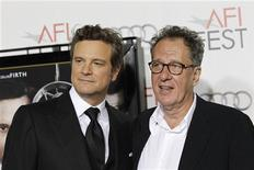 """<p>Colin Firth (esq) e Geoffrey Rush na exibição de """"O Discurso do Rei"""" em Hollywood. O filme liderou nesta terça-feira as indicações para o Globo de Ouro e vai concorrer ao prêmio em sete categorias-chavea. 05/11/2010 REUTERS/Mario Anzuoni/Arquivo</p>"""