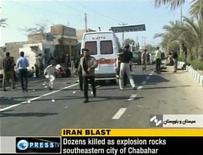 <p>Последствия взрыва у мечети в городе Чабахар на кадре из видеосъемки 15 декабря 2010 года. По меньшей мере 30 человек погибли и более 100 получили ранения в результате взрыва у мечети в городе Чабахар на юго-востоке Ирана, сообщили СМИ. REUTERS/Press TV via Reuters TV</p>