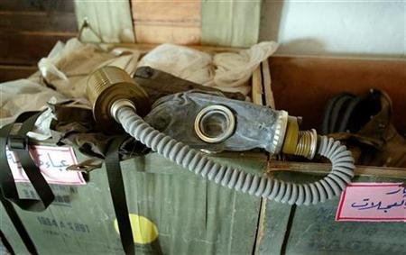 A gas mask sits in a case at a suspected Iraqi nuclear biological chemical (NBC) training facility discovered by British Royal Marines at an Iraqi naval port north of Umm Qsar in southern Iraq, March 30, 2003. REUTERS/Stringer