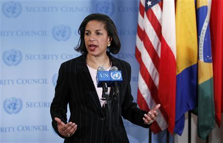 U.S. ambassador to the U.N., Susan Rice, speaks following an emergency meeting of the United Nations Security Council regarding tensions between North and South Korea at the UN Headquarters in New York December 19, 2010. REUTERS/Lucas Jackson