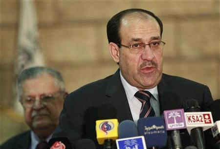 Iraq's Prime Minister Nuri al-Maliki speaks during a news conference in Baghdad in this November 23, 2010 file photo. REUTERS/Thaier al-Sudani