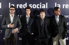 "<p>Actors Justin Timberlake (L), Andrew Garfield and Jesse Eisenberg (2nd R), and writer Aaron Sorkin (R) pose during a photocall to promote the movie ""The Social Network"" in Madrid, October 6, 2010. REUTERS/Andrea Comas</p>"