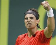 <p>Rafael Nadal depois de derrotar Lukas Lacko no Aberto do Catar, em Doha. 05/01/2010 REUTERS/Jamal Saidi</p>