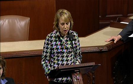 U.S. Representative Gabrielle Giffords of Arizona addresses the United States Congress in this still image taken from video, on Capitol Hill in Washington, January 6, 2011. REUTERS/U.S. House of Representatives TV/Handout