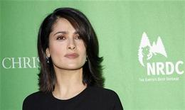 <p>Salma Hayek arrives at Christie's Green Auction on the 40th anniversary of Earth Day, in New York April 22, 2010. REUTERS/Chip East</p>