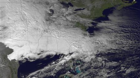 A NOAA weather visualization is seen in an image taken January 10, 2011 by the GOES-East satellite. REUTERS/NOAA/Handout