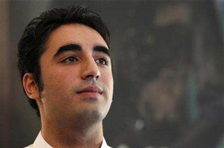Bilawal Bhutto Zardari, son of Pakistan's President Asif Ali Zardari, listens after opening a flood donation point at the Pakistan High Commission in London August 7, 2010. REUTERS/Suzanne Plunkett