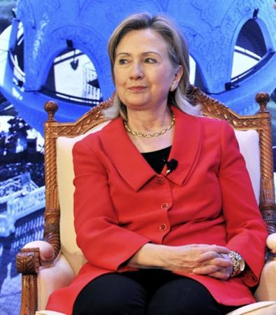 U.S. Secretary of State Hillary Clinton attends a conference the Town Hall Open Press at Bait Al- Zubair Museum in Muscat January 12, 2011. REUTERS/Sultan Alhasani