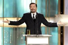 <p>Host Ricky Gervais speaks at the 68th annual Golden Globes Awards in Beverly Hills, California January 16, 2011. REUTERS/Paul Drinkwater/NBC</p>